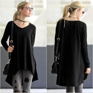 LAST ONE! Black Waffle Knit High Low Tunic